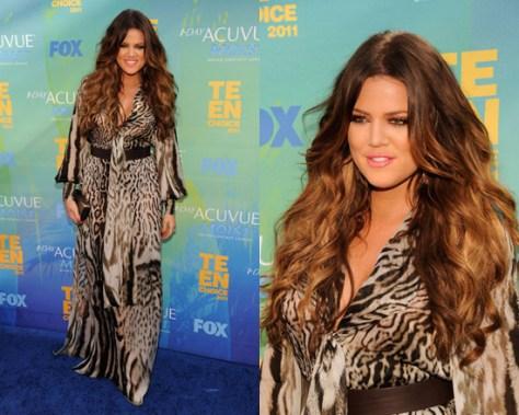 Khloe Kardashian in Roberto Cavalli Animal Print Silk Maxi Dress