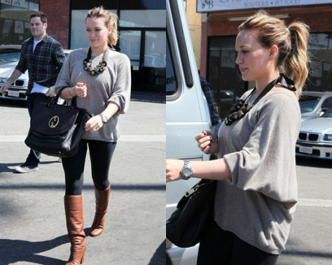 Hilary Duff in Feel The Piece V Back Sweater