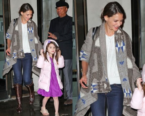 Katie Holmes wearing Anthropologie Aleutian Cardigan