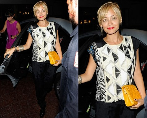 Nicole Richie wearing Dries Van Noten Beaded Print Top in London