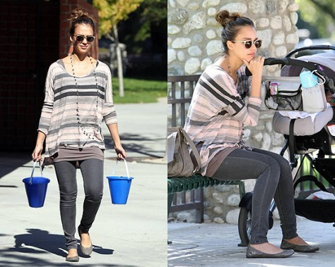 Jessica Alba wearing Michael Lauren Milo Long Sleeve Oversized Top