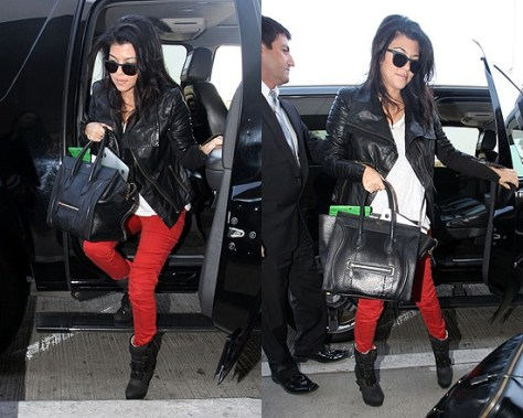 Kourtney Kardashian wearing Burberry London Leather Motorcycle Jacket