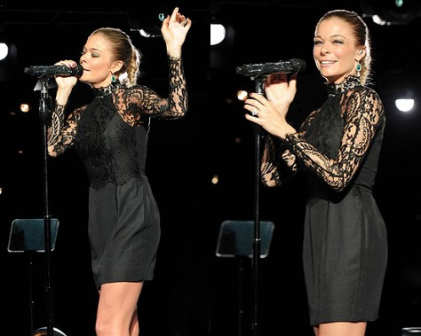 LeAnn Rimes in Lover Mademoiselle Lace and Jersey-crepe Dress