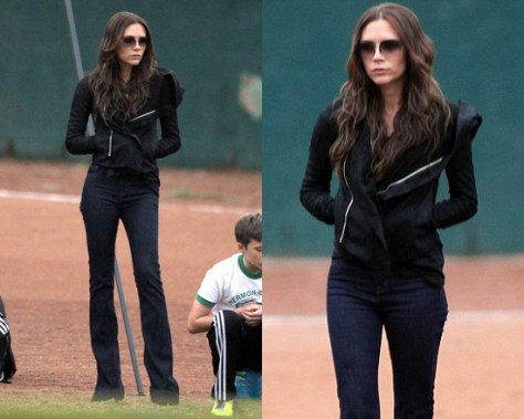 Victoria Beckham in Denim Clean mid-rise bootcut jeans and Rick Owens Blister washed-leather biker jacket
