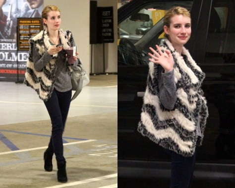Emma Roberts wearing Marc by Marc Jacobs Knit Vest With Fur Zig-Zag