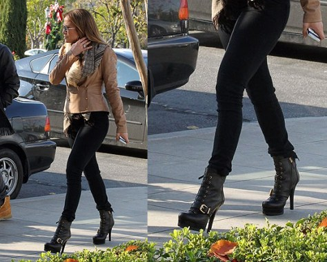 Jennifer Lopez wearing Fendi Lace-Up Belted Boots