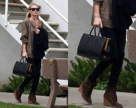 Kate Bosworth Prada Saffiano Lux Top-Handle Open Tote
