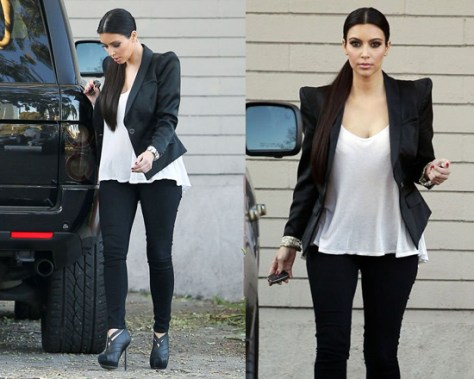 Kim Kardashian leaving LA studio in Yves Saint Laurent Elastic Ankle Boots