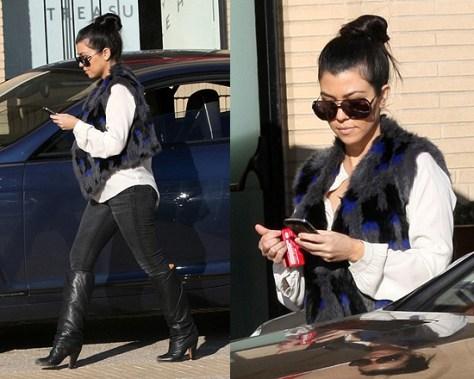 Kourtney Kardashian in 7 For All Mankind Blouse and Antik Batik vest