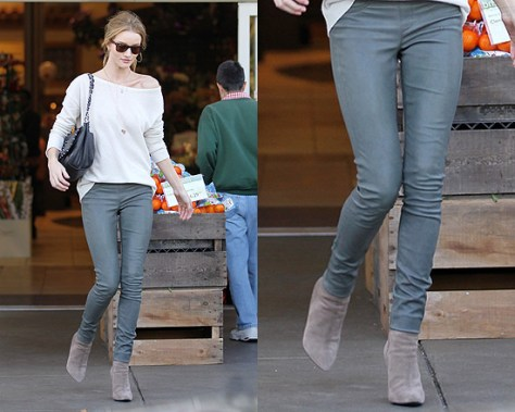 Rosie Huntington-Whiteley in Helmut Lang Stretch Leather Pants
