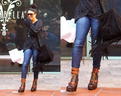 Vanessa Hudgens wearing Free People Andee Platform Buckle Boot