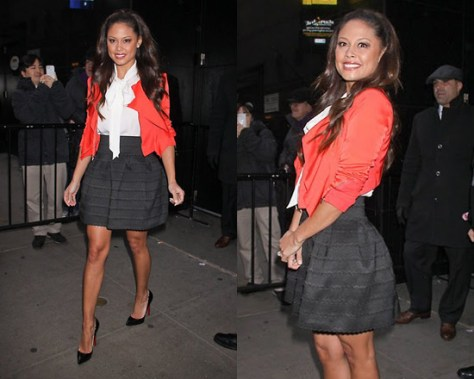 Vanessa Lachey promotes Wipeout in Pleasure Doing Business Scallop Pleated Skirt