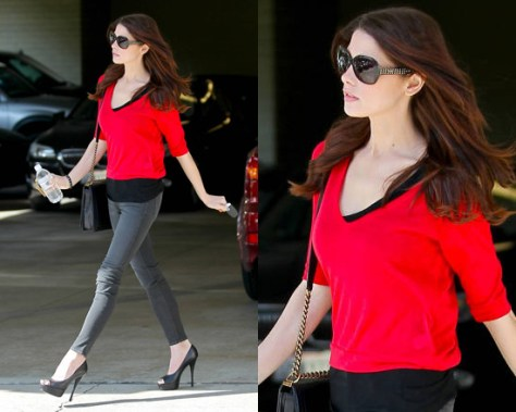 Ashley Greene heads to the salon in J Brand and Prada