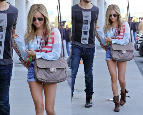 Ashley Tisdale wears All Saints Tibet Damisi Boots