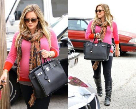 Hilary Duff in Enza Costa Exclusive Colorblock Sweater in Pink