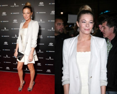 LeAnn Rimes in Herve Leger Scalloped A Line Dress