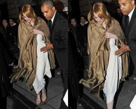 Emma Stone in Lanvin Side Drape Gown and Lanvin Cone Heel Ankle Chain Sandals