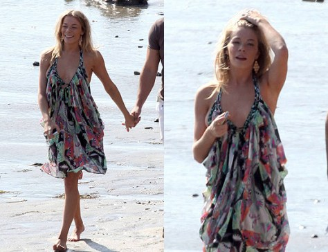 LeAnn Rimes wearing Mara Hoffman Short Draped Chiffon Dress on the beach in Malibu