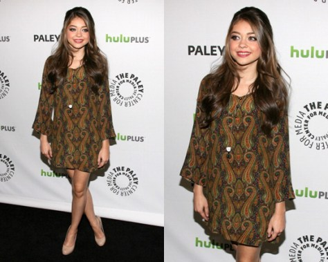 Sarah Hyland in What Goes Around Comes Around Keaton Flared Bell Sleeve Dress
