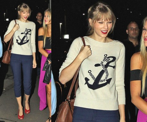 Taylor Swift steps out in Sydney wearing Club Monaco Mary Intarsia Sweater