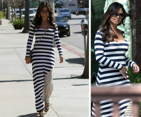 Vanessa Lachey in Ella Moss Chelsea Striped Maxi Dress