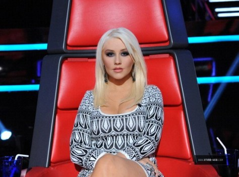 Christina Aguilera wearing Intermix Exclusive Jacquard Knit Dress on The Voice