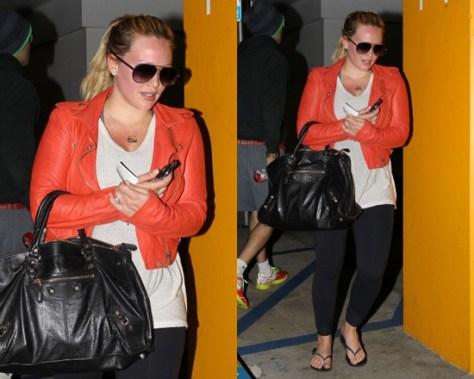 Hilary Duff wearing Iro Salinas Leather Jacket