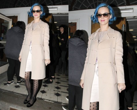 Katy Perry steps out in London wearing Valentino Studded Wool Cashmere Cloth Coat