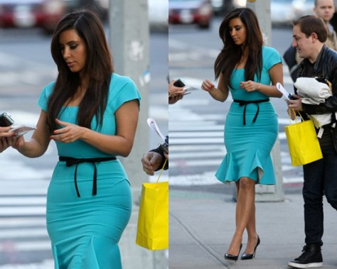 Kim Kardashian in Roland Mouret Anabelle Double Wool Crepe Dress