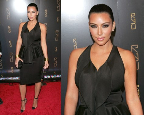 Kim Kardashian at RYU Restaurant Grand Opening wearing Givenchy Shiny Peplum Dress