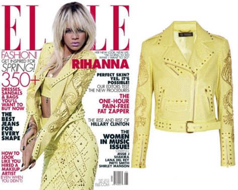 Rihanna covers Elle Magazine wearing Versace Studded Leather Biker Jacket