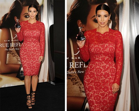 Kim Kardashian in Valentino Bow Detail Lace Sheath Dress