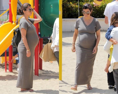 Kourtney Kardashian in K-DASH by Kardashian Sweater Maxi Dress