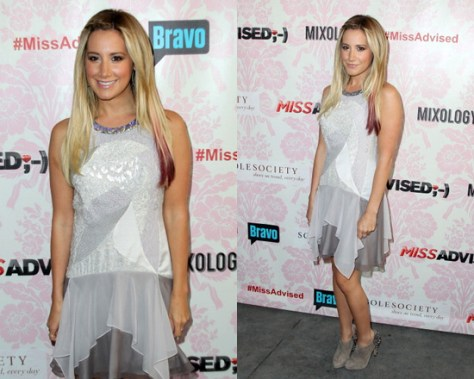 Ashley Tisdale in Rebecca Taylor Mixed-Media Flutter Dress
