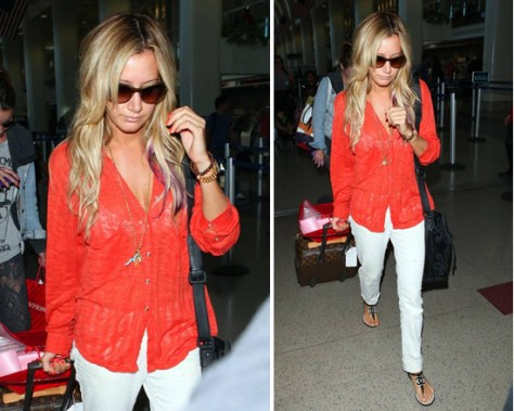 Ashley Tisdale goes Cherry Red in Free People Stavros Buttondown