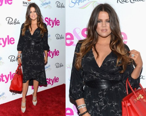 Khloe Kardashian in Rebecca Taylor Aristotle Print Faux Wrap Silk Dress