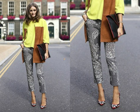 Olivia Palermo in Topshop Paisley Cigarette Trousers at London Fashion Week