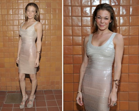LeAnn Rimes in Herve Leger Tank Sequin Dress in Blush Powder
