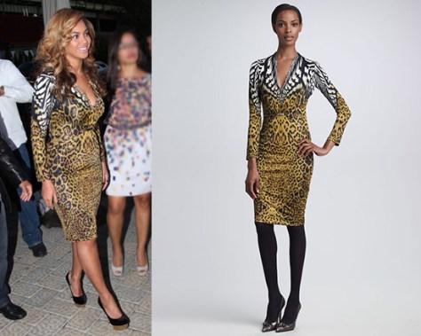 Beyonce in Roberto Cavalli Mixed-Print Sheath Dress
