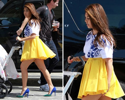 Kourtney Kardashian in Blaque Label Full Circle Mini Skirt
