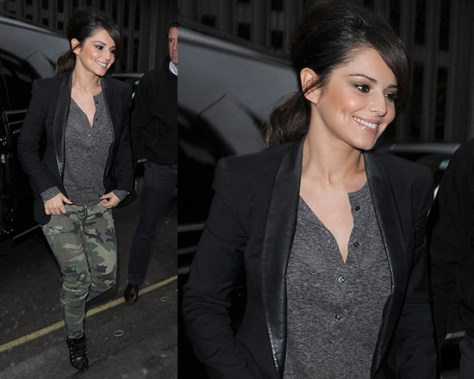 Cheryl Cole steps out wearing Boy. by Band of Outsiders Blazer and Elizabeth and James Cooper Camo Jeans
