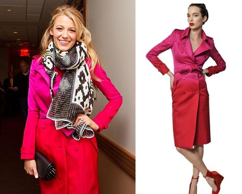 Blake Lively in Burberry Prorsum Degrade Washed Silk Satin Trench Coat