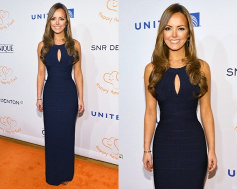 Nicole Lapin in Herve Leger Keyhole Bandage Gown