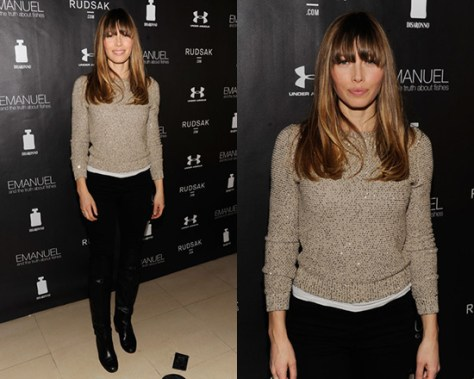 Jessica Biel wearing Oscar de la Renta Sequined Silk Sweater