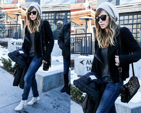 Jessica Biel wearing Sam Edelman Louie Ankle Fringe Boots