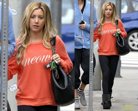 Ashley Tisdale wearing Wildfox Meow! Baggy Beach Sweatshirt