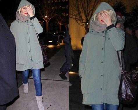 Cameron Diaz wearing Rag & Bone Army green convertible Wynn Coat