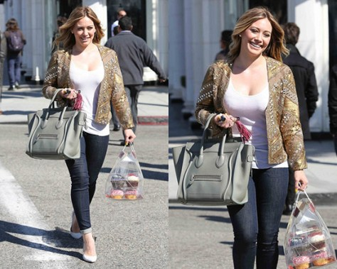Hilary Duff wearing Haute Hippie Embellished Silk Jacket