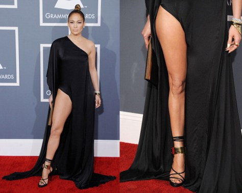 Jennifer Lopez in Anthony Vaccarello Draped Techno Satin Long Dress at 55th Annunal GRAMMY Awards