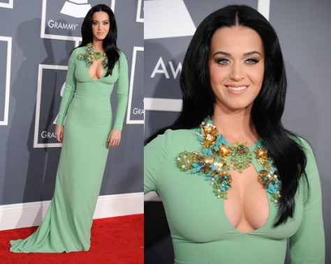 Katy Perry in Gucci Pale Jade Light Sablé Gown at 55th Annual GRAMMY Awards